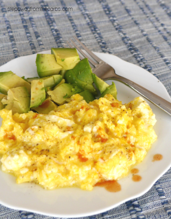 Queso Fresco Scrambled Eggs - a Mexican-inspired breakfast that is naturally low in carbohydrates!