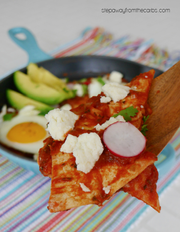 Low Carb Chilaquiles Rojos - a delicious keto brunch with tortillas, red sauce, and fried eggs