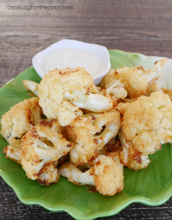 Keto Garlic Cauliflower Bites - with Parmesan and pork rind coating. Gluten free appetizer recipe!