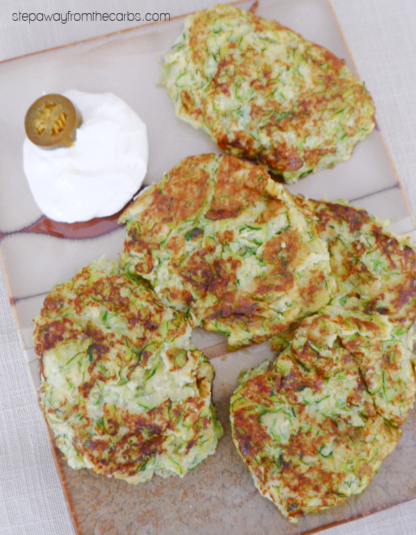 Keto Spicy Zucchini Fritters - a low carb recipe to serve as a side dish or appetizer!