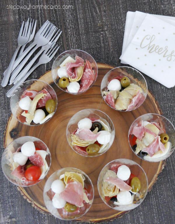 Low Carb Antipasto Cups - the perfect appetizer or snack for a socially distanced gathering!