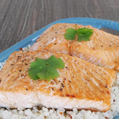 Low Carb Glazed Salmon with Cauliflower Rice