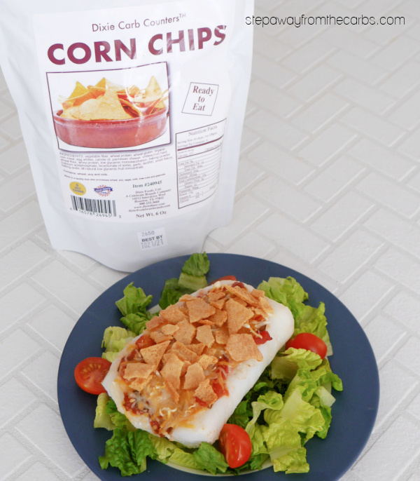 Low Carb Mexican Fish - a fantastic blend of roasted cod, salsa, cheese, avocado, and tortilla chips!