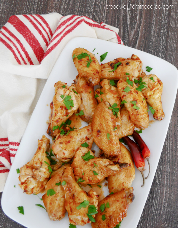 Keto Peach Chipotle Chicken Wings - a sweet and spicy appetizer recipe that is low carb and sugar free!