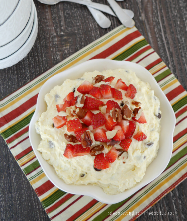 Low Carb Banana Split Fluff - a delicious and easy dessert with a ton of keto friendly topping and mix-in ideas!