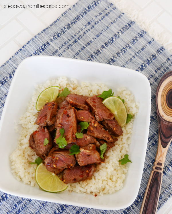 Low Carb Crying Tiger Steak - a spicy Thai dish served over cauliflower rice