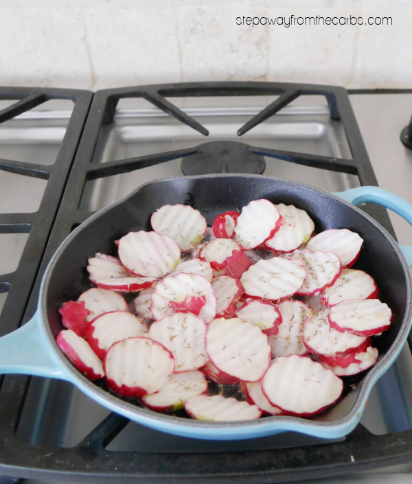 Low Carb Fried Radishes - pan fried with butter, garlic, and herbs - a tasty keto side dish recipe