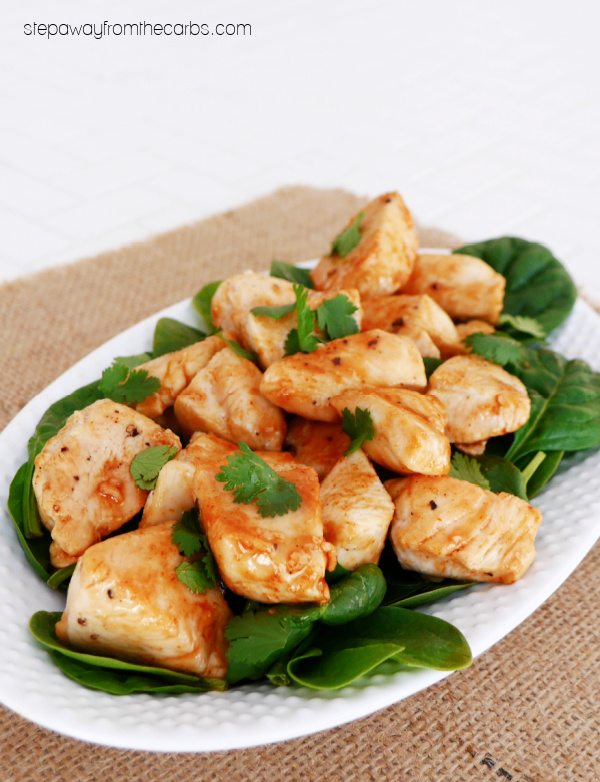 Low Carb Honey Sriracha Chicken - a sweet and spicy sugar free and keto-friendly recipe