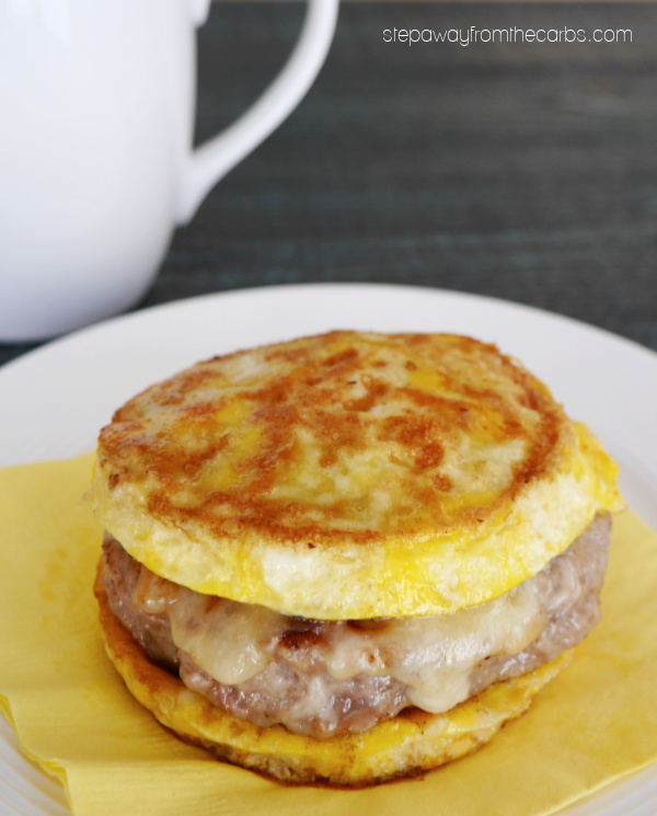Low Carb Sausage Egg Sandwich - 2g net carbs for the whole thing! Such a great way to start the day!