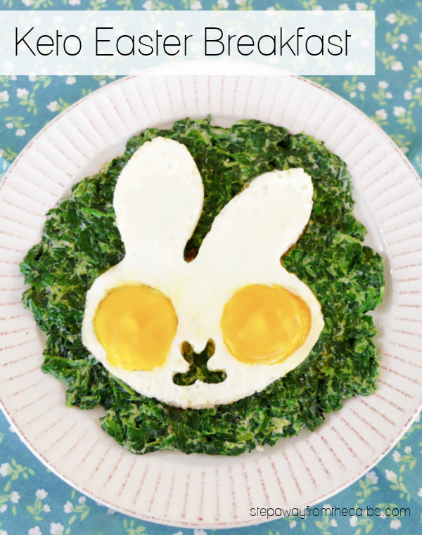 Keto Easter Breakfast - rabbit-shaped fried eggs served on a bed of gorgeous creamed spinach