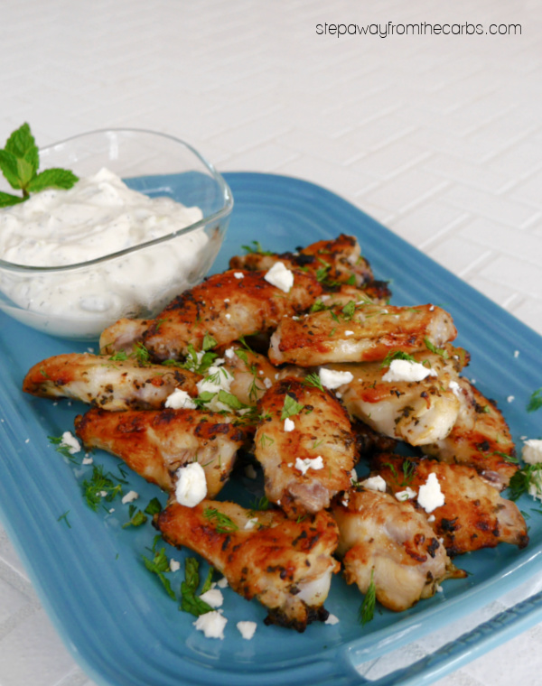 Keto Greek Souvlaki Wings - chicken wings are marinated in Mediterranean flavors then broiled to crispy perfection!