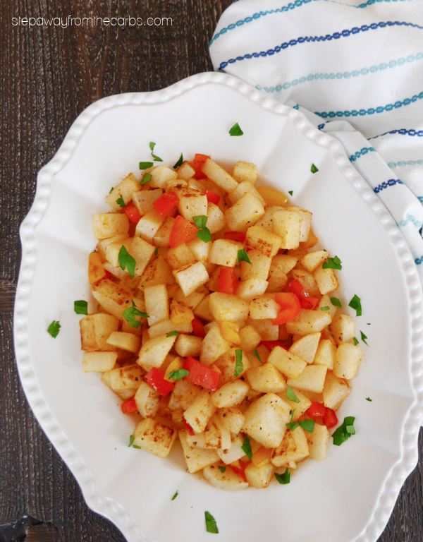 Low Carb Hash Browns - made with daikon radish! A delicious vegetarian and keto-friendly brunch recipe.