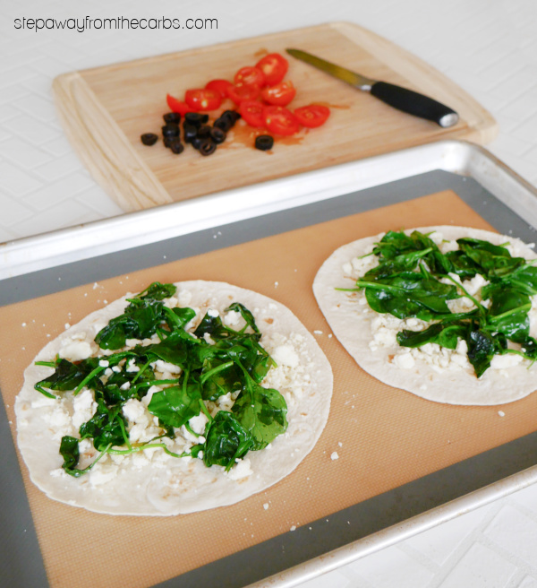 Low Carb Mediterranean Quesadillas - spinach, tomatoes, feta, black olives and more!
