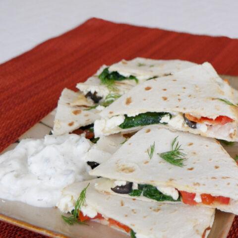 Low Carb Mediterranean Quesadillas