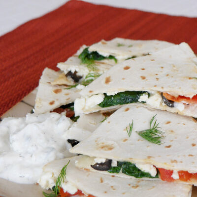 Low Carb Mediterranean Quesadillas