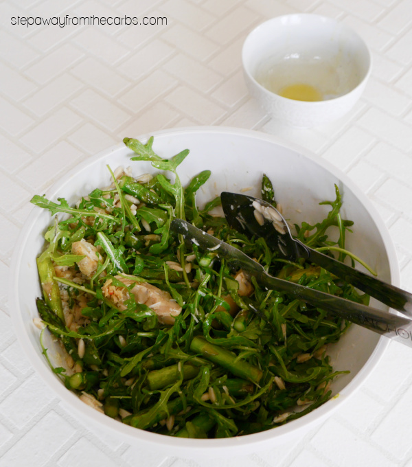 Low Carb Orzo Salad with asparagus, arugula, artichokes and a simple lemon dressing
