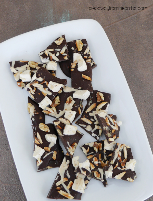 Low Carb Rocky Road Bark - a sugar free and keto friendly sweet treat!