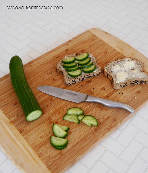 Low Carb Smørrebrød - a Scandinavian recipe with pickled herrings, egg salad, and cucumber on low carb bread!