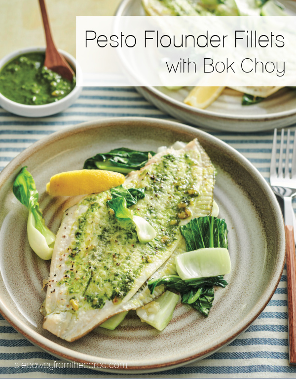 Pesto Flounder Fillets with Bok Choy - a quick and easy keto and low carb meal