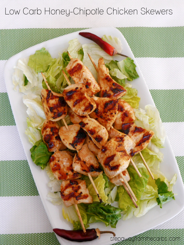 Low Carb Honey-Chipotle Chicken Skewers - a sweet and spicy recipe that's perfect for grilling season!