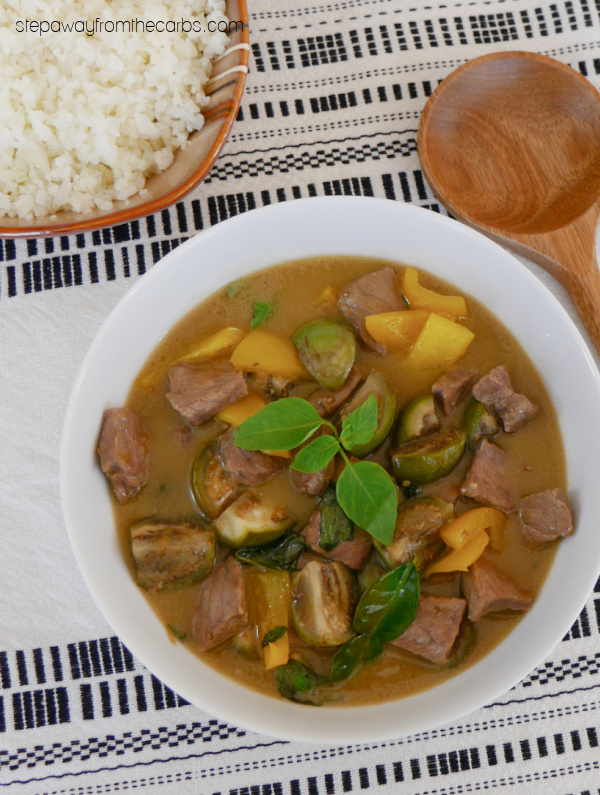 Low Carb Thai Green Curry - with steak, Thai eggplant, lime leaves, Thai basil, and more!