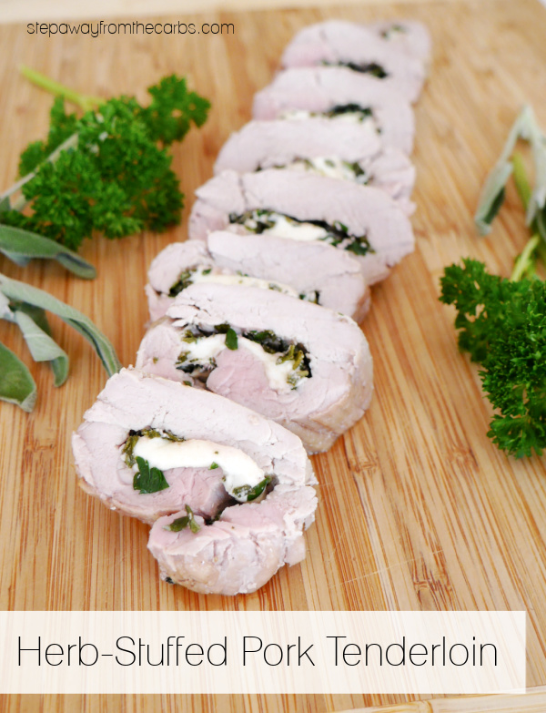 Herb-Stuffed Pork Tenderloin - a delicious recipe that is naturally low in carbs
