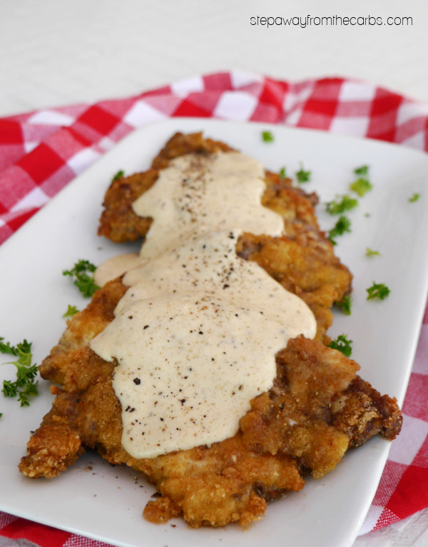 Keto Chicken Fried Steak with Cream Gravy - a low carb alternative to the classic Southern dish
