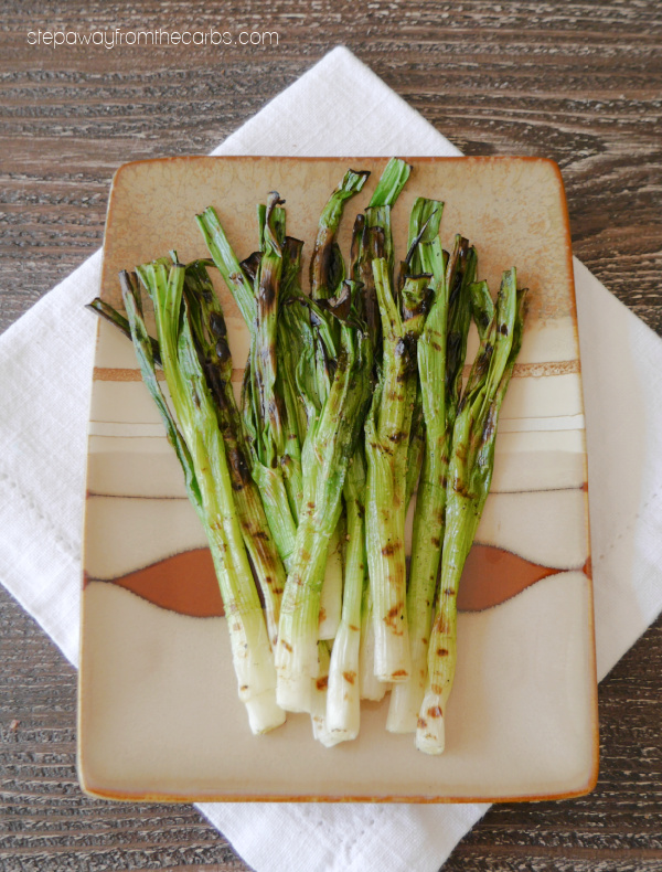 Keto Grilled Green Onions - a quick and easy side dish recipe that is surprisingly tasty!