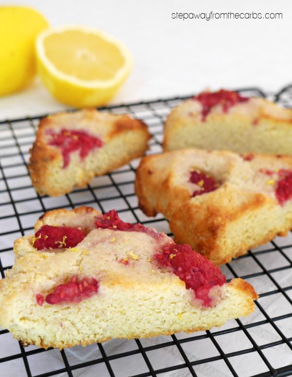 Keto Raspberry and Lemon Scones - an easy recipe that's gluten free, sugar free, dairy free, and vegan!