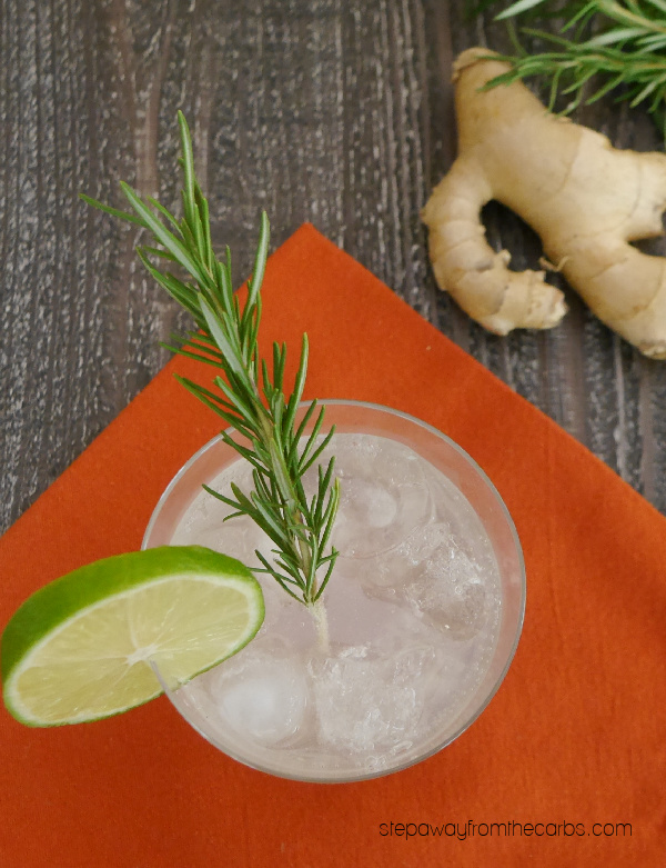 Keto Rosemary & Ginger Cocktail - a delicious gin-based drink with a homemade infused syrup