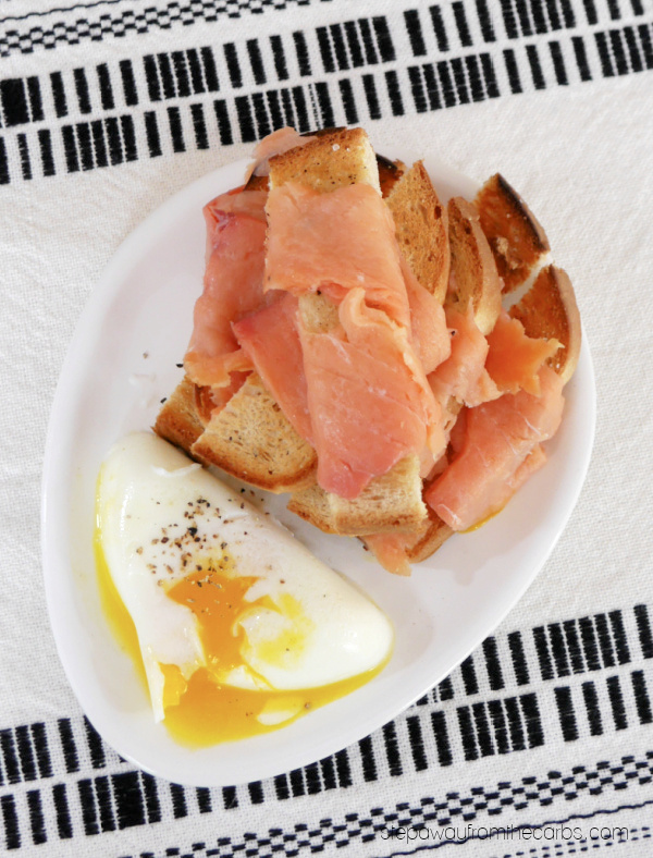 Low Carb Smoked Salmon Toast Sticks with Poached Eggs - a special keto-friendly brunch recipe