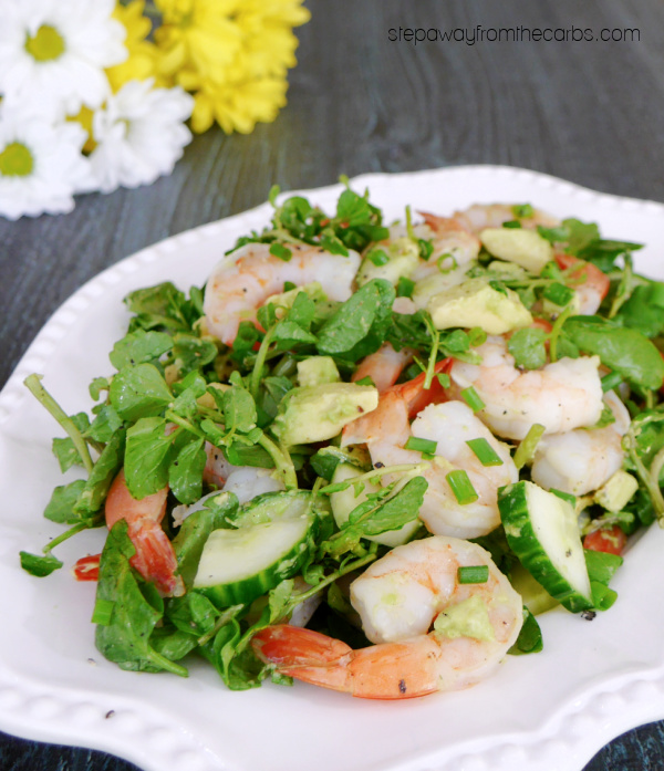 Watercress Salad with Shrimp, Avocado and Cucumber - a delicious low carb lunch or appetizer recipe
