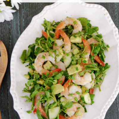 Watercress Salad with Shrimp, Avocado and Cucumber