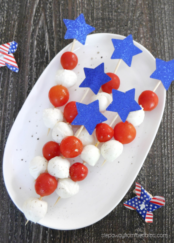 Caprese Skewers - Low Carb Red, White, & Blue Recipes