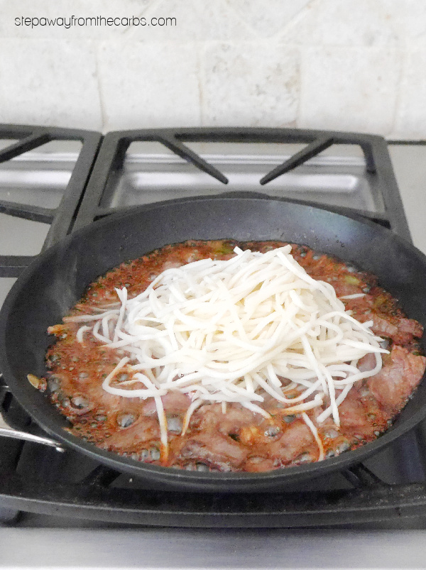 Keto Mongolian Beef with Palmini Noodles - a low carb and sugar free version of the popular Chinese dish