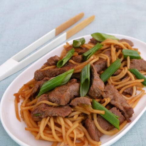 Keto Mongolian Beef with Palmini Noodles