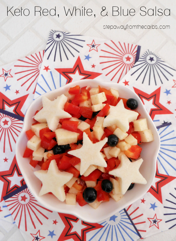 Keto Red, White & Blue Salsa - a delicious side dish or condiment in patriotic colors!