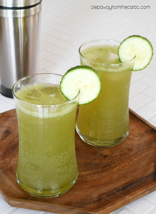 Low Carb Cucumber Gin Fizz - a refreshing sugar-free cocktail