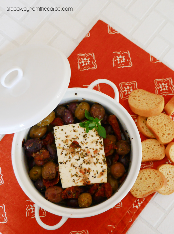 Mediterranean Baked Feta - a low carb appetizer with olives, tomatoes, garlic, and oregano