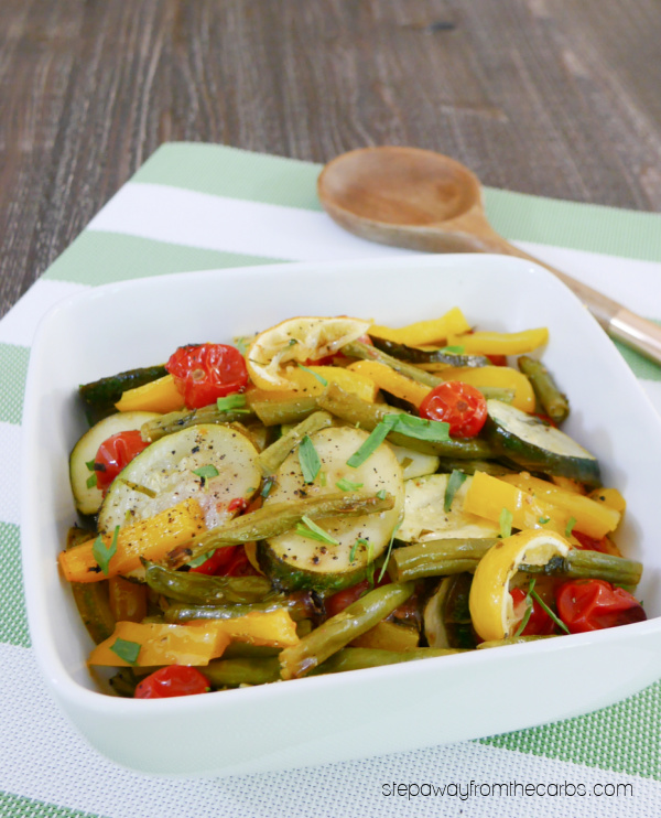 Roasted Low Carb Vegetables with Tarragon and Lemon - an easy keto friendly side dish recipe