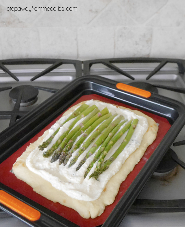 Keto Asparagus Tart with Ricotta and Thyme - a low carb vegetarian appetizer or lunch recipe made with fathead dough