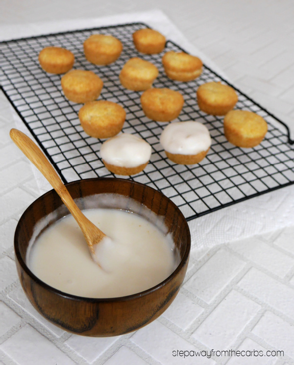 Low Carb Glazed Cake Bites - cute little sweet treats that are gluten free and sugar free!