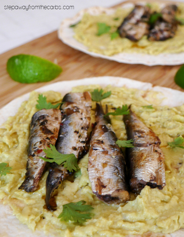 Low Carb Sardine Tostadas - a Mexican-inspired light meal with canned sardines, avocado, and low carb tortillas