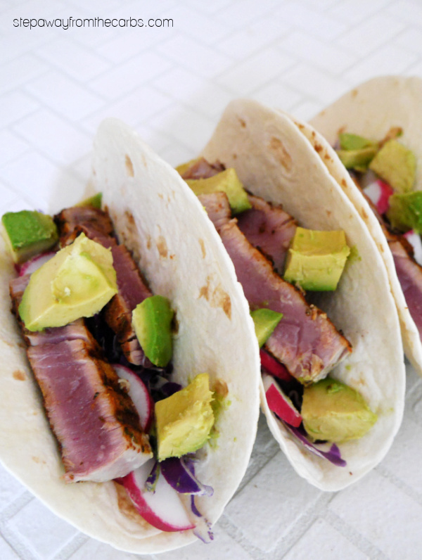 Low Carb Ahi Tuna Tacos - delicious soft tacos made with fresh tuna, veggies, and spicy mayo