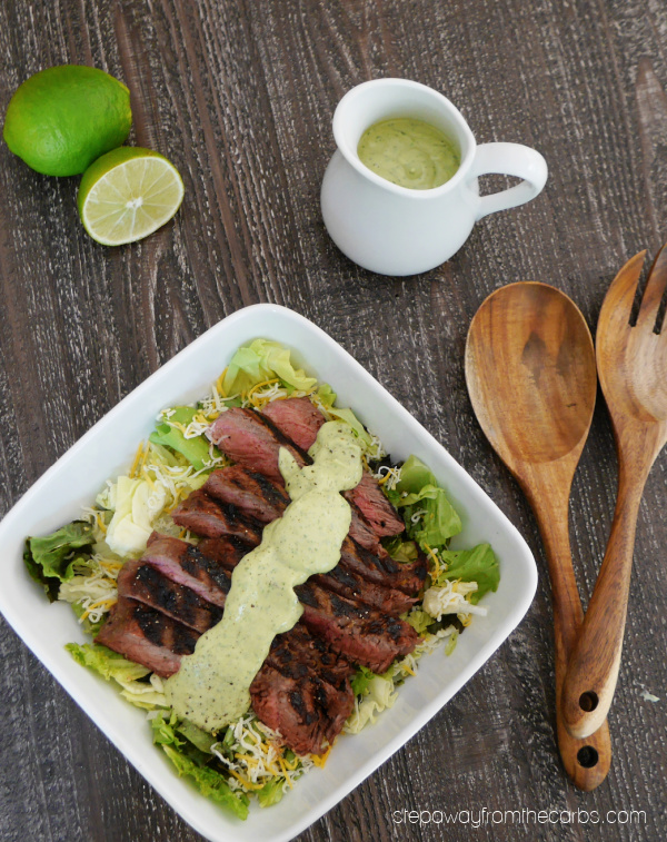 Tequila & Lime Marinated Steak Salad - a low carb dish served with an avocado dressing
