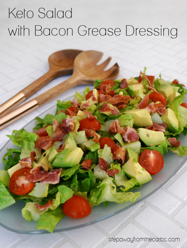Keto Salad with Bacon Grease Dressing - an easy recipe with a lot of flavor that uses leftover bacon fat!