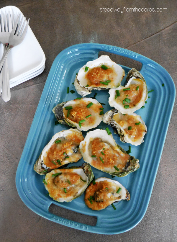 Low Carb Broiled Oysters - a tasty seafood appetizer that's both sweet and salty!