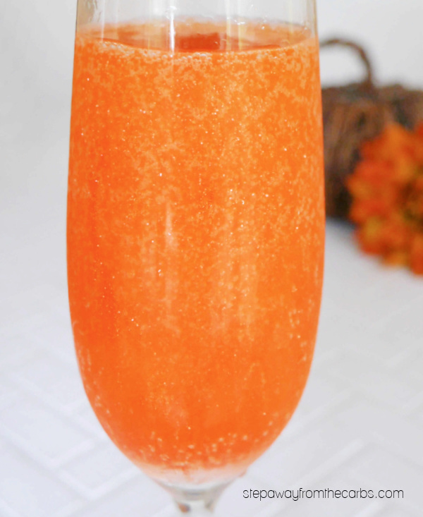 Keto Halloween Cocktail - a glittery Prosecco cocktail that is fun for any celebration!