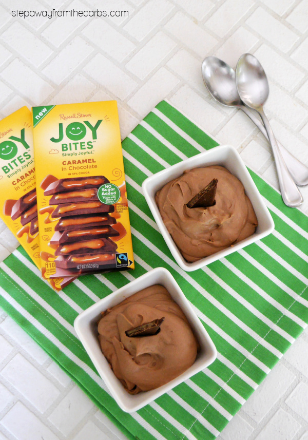 Low Carb Caramel Chocolate Mousse - just 2 ingredients needed for this sugar free dessert recipe!