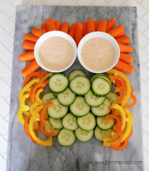 Owl Platter with Keto Chipotle Ranch Dip - a fun veggie dish for fall, Halloween, or any time of year!